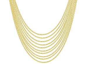 18K Yellow Gold Over Sterling Silver Rolo Chain Necklace Set Of 10