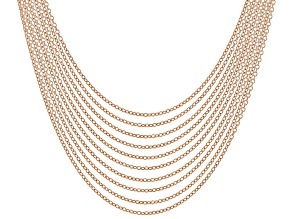 18K Rose Gold Over Sterling Silver Rolo Chain Necklace Set Of 10