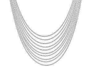 Sterling Silver Rolo Chain Necklace Set Of 10