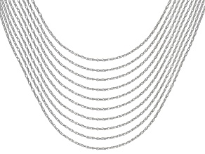Sterling Silver Rope Chain Necklace Set Of Ten 18 Inch