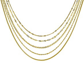18K Yellow Gold Over Silver Multi Link Set Of Five Chain Necklace 20 Inch