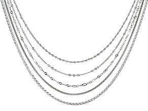 Sterling Silver Multi Link Set Of Five Chain Necklace 20 Inch