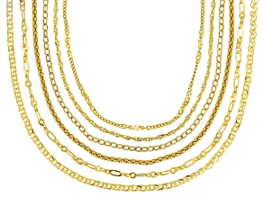 18K Yellow Gold Over Silver Multi Link Set Of Six Chain Necklace Set 18 Inch