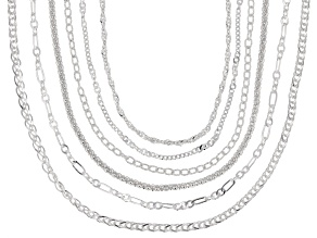 Sterling Silver Multi-Link Set Of Six Chain Necklace Set 18 Inch