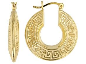 18K Yellow Gold Over Sterling Silver 9MM Greek Key Design Hoop Earrings