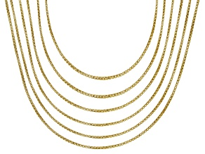 18K Yellow Gold Over Sterling Silver Round Box Chain Necklace Set Of 6