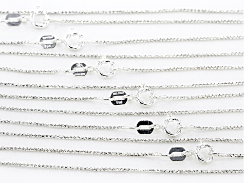 Sterling Silver Round Box Chain Necklace Set Of 6