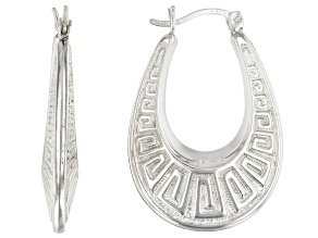 Sterling Silver 10MM Greek Key Design Teardrop Shape Hoop Earrings