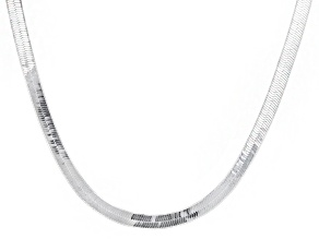 Sterling Silver 4MM Flat And Polished Herringbone Chain Necklace 18 Inch