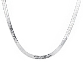 Sterling Silver 4MM Flat And Polished Herringbone Necklace 20 Inch