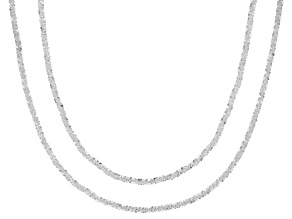 Sterling Silver Set of 2 1.5MM Mirrored Criss-Cross Chain 18 Inch and 20 Inch Necklaces