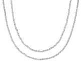 Sterling Silver 1.5MM Mirrored Link Chain Necklace Set 18 Inch & 20 Inch