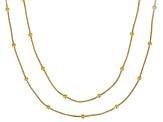 18K Yellow Gold Over Silver 1MM Snake Chain With Station Bead Necklace Set 18 Inch & 20 Inch