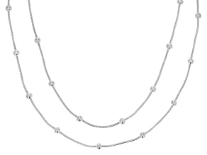 Sterling Silver 1MM Snake Chain With Station Bead Necklace Set 18 Inch & 20 Inch