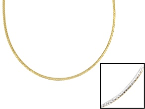 Sterling Silver & 18k Yellow Gold Over Silver Diamond Cut Omega Necklace 20 Inch With Extender