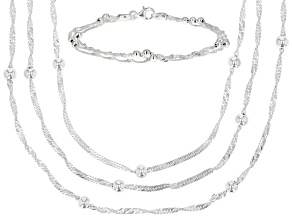 STERLING SILVER MULTI LINK SINGAPORE CHAIN STATION BEAD NECKLACE & BRACELET SET