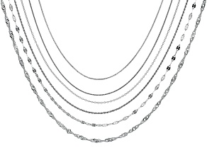 Sterling Silver Multi-Link Chain Necklace Set Of 6