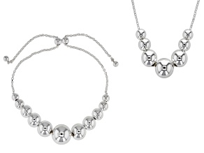 Sterling Silver Graduated Bead Necklace & Bracelet Set
