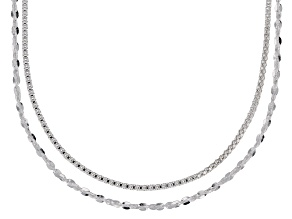 Sterling Silver Twisted Serpentine & Diamond Cut Popcorn Chain Necklace Set 24 Inch