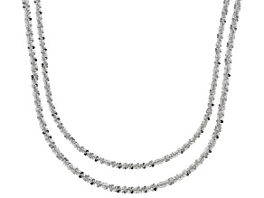 Sterling Silver Diamond Cut Criss Cross Chain Necklace Set 20 Inch & 24 Inch