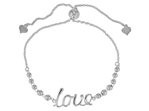 Sterling Silver Station Bead Love Bracelet With Bead Adjustable Closure