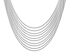 Sterling Silver Box Chain Necklace Set Of 10