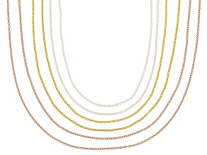 18K Yellow, Rose Gold & Rhodium Over Sterling Silver Rolo Chain Necklace Set Of 6