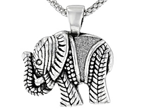 Oxidized Sterling Silver Elephant Pendant With White Cubic Zirconia & 18 Inch Popcorn Chain