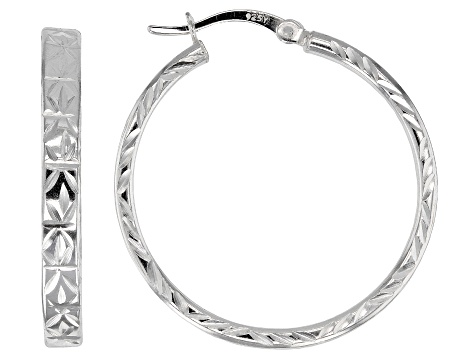 Sterling Silver Polished Etched Hoop Earrings