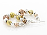 Sterling Silver & 18K Rose & Yellow Gold Over Sterling Silver Bead Hoop Earrings