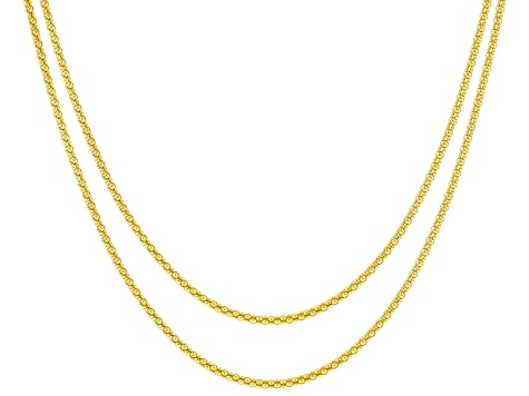 18K Yellow Gold Over Sterling Silver Popcorn Chain Necklace Set 24 & 28 Inch