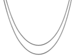 Sterling Silver Popcorn Chain Necklace Set 24, & 28 Inch
