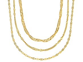 18K Yellow Gold Over Sterling Silver Multi-Link Chain Necklace Set  20, 24, & 28 Inch