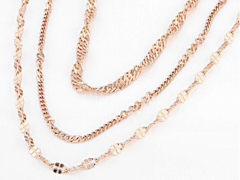18K Rose Gold Over Sterling Silver Multi-Link Chain Necklace Set 20, 24, & 28 Inch