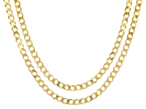 18K Yellow Gold Over Sterling Silver Curb Chain Necklace Set 20 & 24 Inch