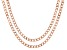 18K Rose Gold Over Sterling Silver Curb Chain Necklace Set 20, & 24 Inch