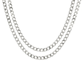 Sterling Silver Curb Chain Necklace Set 20 & 24 Inch