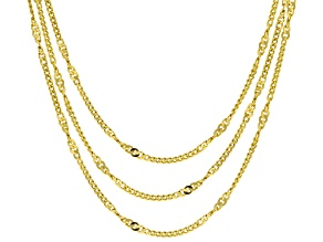 18K Yellow Gold Over Sterling Silver Twist Curb Chain Necklace Set 20, 24, & 28 Inch