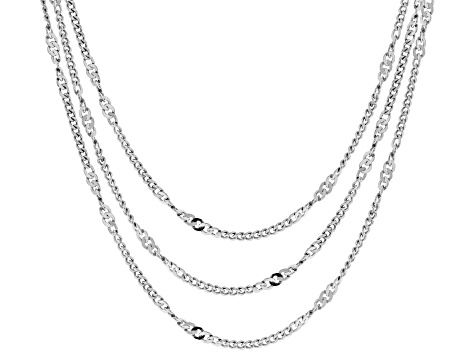 Sterling Silver Twist Curb Chain Necklace Set 20, 24 & 28 Inch