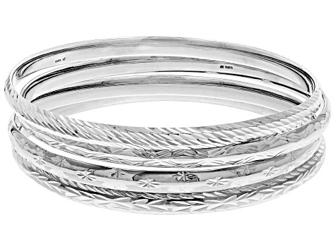 Sterling Silver Diamond Cut 4 PC Slip on Bangle Set 8 inch