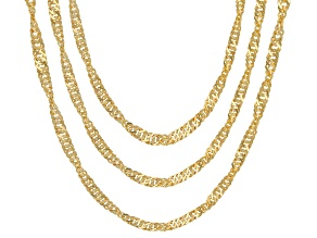 18K Yellow Gold Over Sterling Silver Singapore Chain Necklace Set 20, 24, & 28 Inch