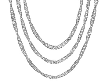 Picture of Sterling Silver Singapore Chain Necklace Set 20, 24, & 28 Inch