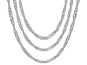 Sterling Silver Singapore Chain Necklace Set 20, 24, & 28 Inch