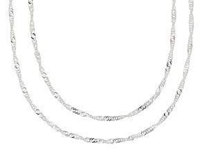 Sterling Silver Singapore Chain Necklace Set 20 & 24 Inch