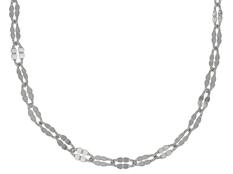 Sterling Silver Twisted Mirror Chain Necklace 20 Inch Set Of 5