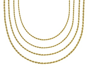18K Yellow Gold Over Sterling Silver Diamond Cut Rope Chain Necklace Set 20 Inch
