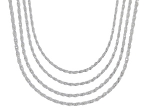 Sterling Silver Diamond Cut Rope Chain Necklace Set 20 Inch