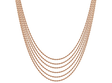 18K Rose Gold Over Sterling Silver Diamond Cut Rope Chain Set Of 6