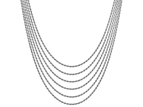 Sterling Silver Diamond Cut Rope Chain Necklace Set Of 6