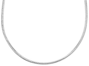 Sterling Silver 3MM Polished Omega Necklace 18 Inch